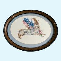 Darcy Lee Marquis, Australian Terrier Sweetie by American Flag Watercolor Painting