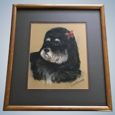 Lucy M Burney, Lhasa Apso Dog Portrait Pastel Painting Singed by Artist