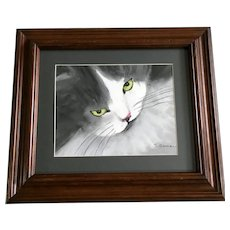 S Orman, Green Eye Cat Oil Pastel Painting Signed by Artist