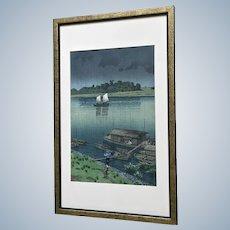 Kawase Hasui (1883-1957), Japanese Woodblock Print, Early Summer Rain at Arakawa
