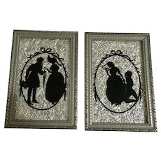Silhouette Reverse Glass Paintings with Foil Backing Folk Art