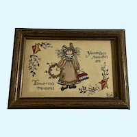 Country Girl Folk Art Acrylic Painting Monogrammed by Artist