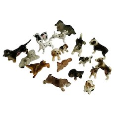 Mixed Breeds Dogs Bone China and Bisque Miniatures Group of 18 Figurines