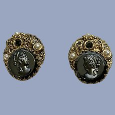 West Germany Black Hematite Glass Cameo Clip-On Earrings