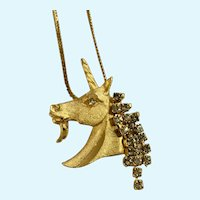 Unicorn Gold-Tone Faux Diamond Necklace Made in Korea