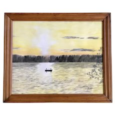 J Hickey, Fishing on a Sun Lit Lake, Watercolor Painting Signed by Artist