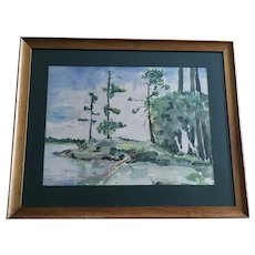 Mary Pett,  Lake Landscape Watercolor Painting Singed by Minnesota Artist 1949