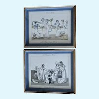 Le Bon Genre No. 107 & 28 Hand Colored French Etchings