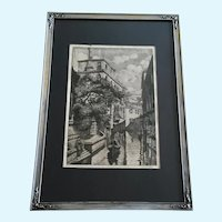 J Cassadei, Venetian Canal Gondola Etching Signed by Artist