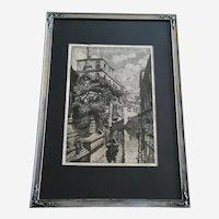 J Cassadei, Venetian Canal Gondola Etching Signed by Artist
