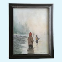 Cary Evans, Early Morning Fishermen, Oil Painting Signed by Artist
