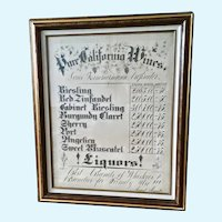 Vintage Large Pure California Wines Price Advertising Chart Fine Art Calligraphy