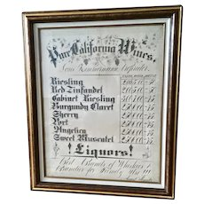 Vintage Large  Pure California Wines Price Advertising Chart Fine Art Calligraphy August Kraatz