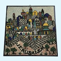 Jerusalem Hand Painted Tile Wall Plaque Barbour Ceramics 1987