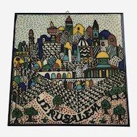 Jerusalem Hand Painted Tile Wall Plaque Barbour Ceramics 1987