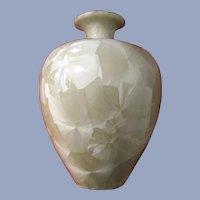 Signed Crystalline Bud Vase Art Pottery Beige