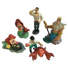 Vintage Disney The Little Mermaid Plastic Rubber Figurines 6 pieces