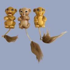 Vintage Disney Super Rare Lion King Roaring Simba and Nala Baby Cubs Action Figures