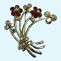 Floral Bouquet Brooch Pin with Rhinestone Crystal Flowers