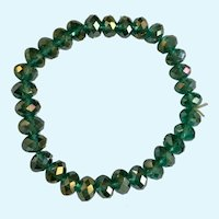 Green Crystal Bracelet on Stretchy Band