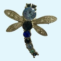 Blue-Green Dragonfly Brooch Pin with Silver-Tone Wings