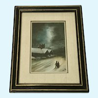 Figural People on Cold Winter Night, Watercolor Painting Monogrammed by Artist