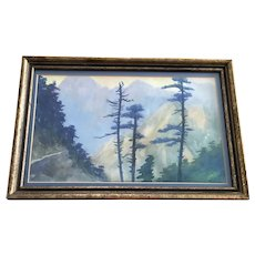 Pine Trees in Mountainous Landscape Watercolor Painting