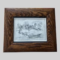 L Hanmon, Cubist Mid-Century Etching Print Signed by Artist