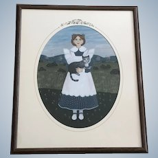 Claude Schneider, Girl with Cat Folk Art Primitive Pastel Painting Signed by Listed Artist