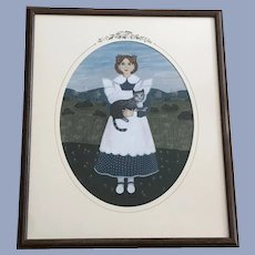 Claude Schneider, Girl with Cat Pastel Painting Signed Listed Artist