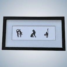 Black Cat Attitudes Silhouettes Paper Cutouts Framed