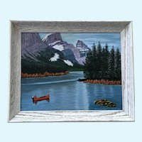 Nellie Conrad, Canoeing by the Grand Teton Mountains Oil Painting