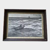 John Robertson Reid (1851-1926) Fisherman Setting Traps Rare Lithograph