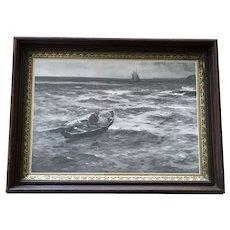 John Robertson Reid (1851-1926) Fisherman Setting Traps Rare Lithograph on Board