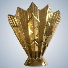 Gold Splatter Gold Fan Weeping Vase 'Savoy Fine China' USA 24K Gold
