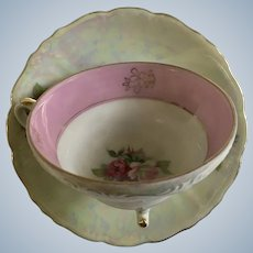 Vintage Pink Roses Rainbow Iridescent Footed Teacup and Saucer