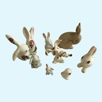 Adorable Bunny Rabbit Miniature Bone China & Ceramic Pottery Group
