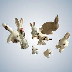 Adorable Bunny Rabbit Miniature Bone China & Ceramic Pottery Group