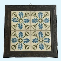 Mid-Century Blue Floral Tile Trivet Wall Decoration