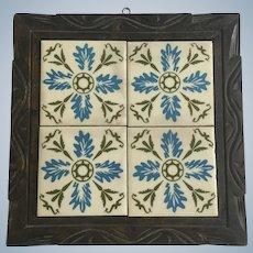 Mid-Century Blue Floral Tile Trivet Wall Decoration