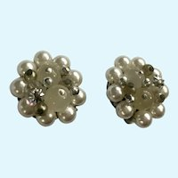 Faux Pearl and Beads Clip-On Earrings Made in Japan