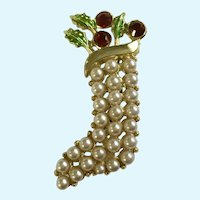 Christmas Stocking Brooch Pin with Red Rhinestones and Leaf Greenery