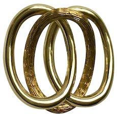 18K Gold Interlocked Loops Brooch Pin Italy