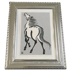 White Horse Japanese Woodblock Etching Print
