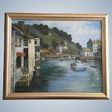 P Peters, Polperro Harbor England Oil Painting Landscape Signed by Artist
