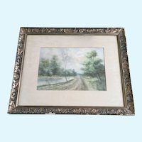 J H Sigl, Road Past Pond Watercolor Painting Signed by Artist