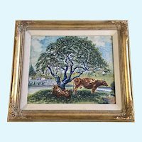 Cows Shade Themselves Under Tree Landscape Oil Painting Signed
