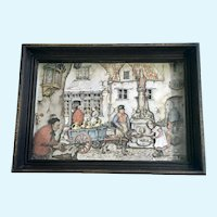 Anton Pieck Lithograph Print 3D Relief Shadow Box Craft, Old Town Square