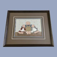 Adorable Country Folk Art Children Dolls Acrylic Painting Signed By Artist