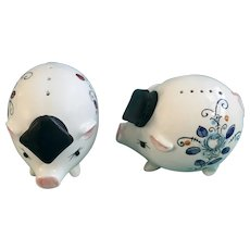 Smart Hog Pigs Salt and Pepper Shakers with Hand Painted Flowers Enesco